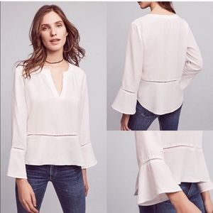 Cloth and Stone Peplum Bell Sleeve Top White M